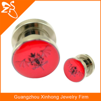 Wholesale Stainless Steel Ear Flesh Tunnels Body Jewelry Fashion Ear Gauges with Fancy Drop Oil Picture