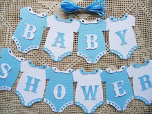 BABY SHOWER Blue Boy Bunting Flags Banners