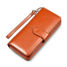 Fashion Women wallets for iPhone 6/5/5S/6S/6 Plus Long zipper Oil wax Leather Purse for Samsung S4/S5/S6
