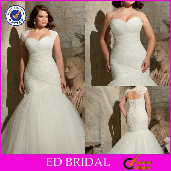 2015 Custom Made Simple Modern Cheap Mermaid Wedding Dresses For Fat Woman