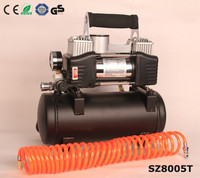 Heavy duty double cylinder 12v air compressor with tank