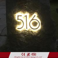 High brightness backlit stainless steel light up letter led house door number sign