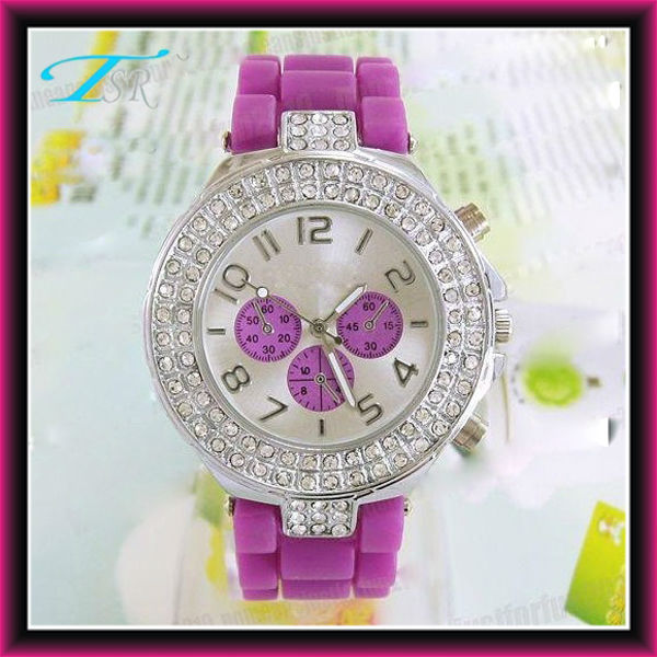 China manufacturer watches, New design fashion Geneva silicone lady watches ,with rhinestone