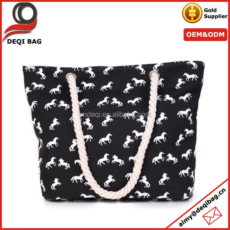 All Over Horse Printing Canvas Tote Bag Fashion Canvas Beach Bag