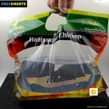 Flat bottom custom printed ziplock handle bags stand up pouch with clear window for rotisserie chicken