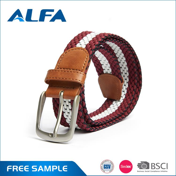 Alfa Best Products For Import New Designed Full Color Elastic Braided Waist Man'S Fabric Belt