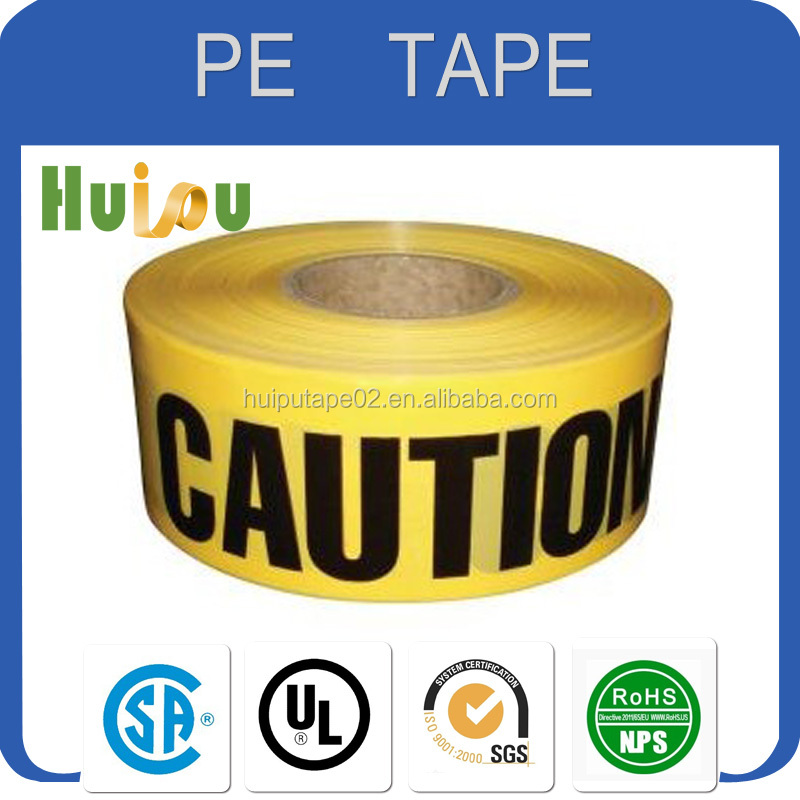 China Top quality PE film good aging resistance, underground cable warning tape no adhesive PE warning adhesive tape