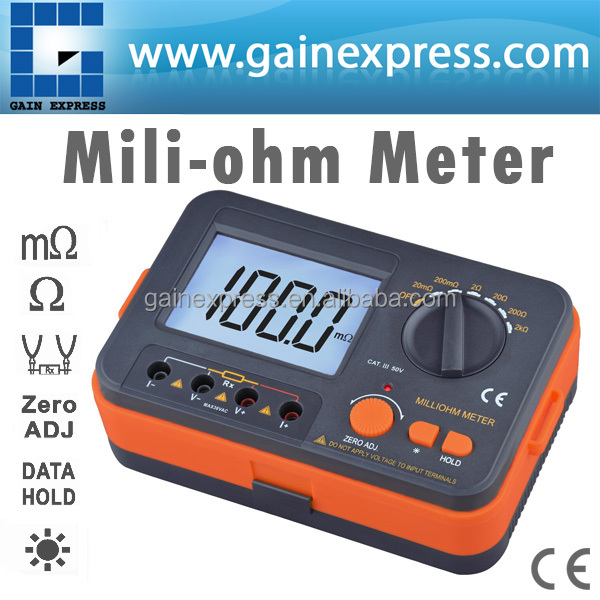 Handheld Digital Milli-ohm Meter Manual Range Micro-ohm Tester with 4 wire testing + Backlight