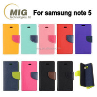for Samsung Note 5 leather case double color style PU leather wallet case, For samsung galaxy note 5 case