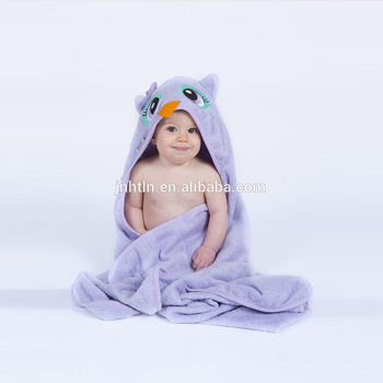 100% Cotton Baby Hooded Towel, Embroidered Patch Bath Robe and Beautifully Wrapped, 0-12 Month