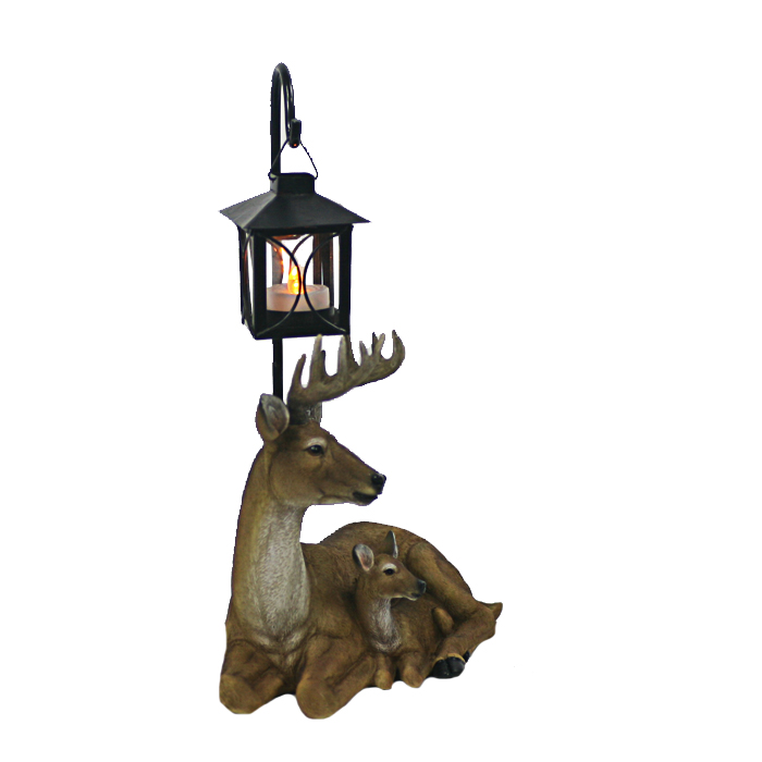 New Arrival Resin Deer Statue with LED Lantern