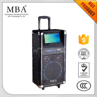 10 inch Single big super bass subwoofer trolley rechargeable outdoor dvd speaker with led light ,wireless mic