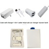 2016 usb travel charger kit usb car charger and powerbank with cable for iphone