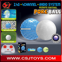 New Novelty design 2.4G 4CH Can move on water surface Sand Grass Remote control Poke ball toy with colorful light