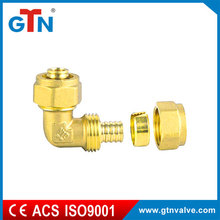 Hot sales brass copper fitting double elbow yellow ART028H pex fitting forged