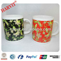 Novelty Products Chinese Wholesale 99 Cent Store Items/Flower Border Design Gift Craft Ceramic Drinkware Mugs For Sale