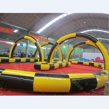 Newest amusement park backyard commercial inflatable go cart track race game