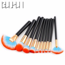 Gujhui Factory Blue Red Hair Professional <strong>Cosmetics</strong> Travel Quality big Fan Makeup Brush Set
