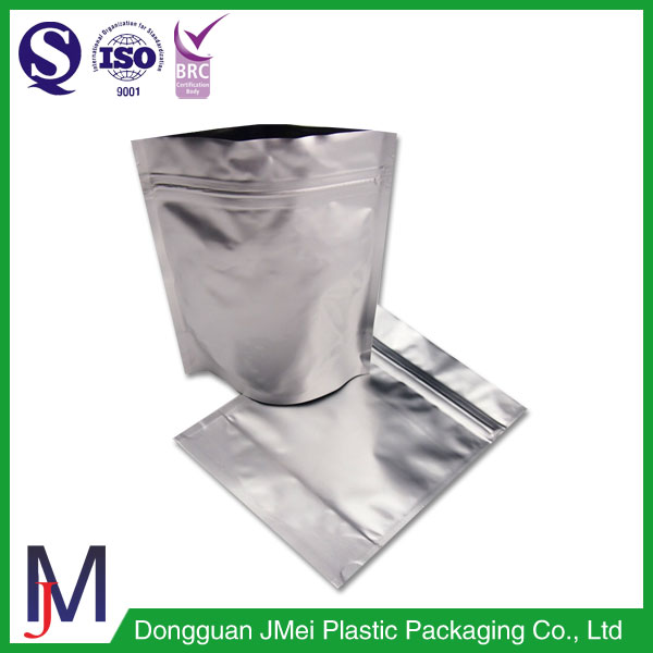 top quality aluminium resealable pouch ,aluminium foil zipper bag, stand up foil pouch