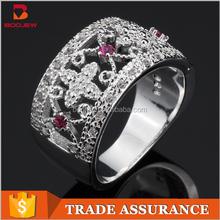 Serial silver ring inlaid gems and more heart-shaped emerald ring fashion silver ball jewelry ring