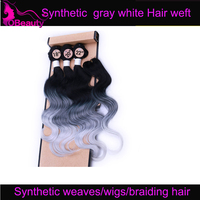 Synthetic hair extension ombre gray black silver colored body wave sythetic hair with braiding hair