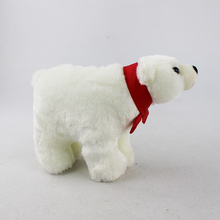 OEM super soft White Standing Polar bear Plush toy Polar bear with Bow tie