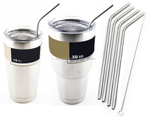 4 Bend Stainless Steel Straws Extra LONG fits 30 oz & 20 oz Tumbler Rambler Cups - 10.5 inch Drinking Straw