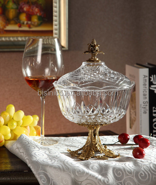 Italian Style Home Decor Item Brass with Crystal Candy Jar (BF01-0212-1)