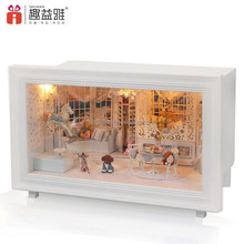 Happy birthday gift wooden play toy doll house for girls with miniature furniture and light