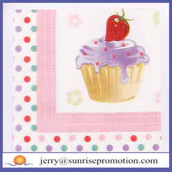 Sweet Cake And Colorful Dots Printed Paper Napkins Dessert Party