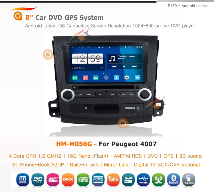 Hifimax car dvd gps navigation system FOR PEUGEOT 4007 WITH A8 CHIPSET DUAL CORE 1080P V-20 DISC WIFI 3G INTERNET DVR