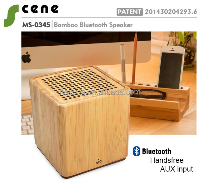 Hairong new Patent Design Unique bamboo Bluetooth Speaker with power bank, High Quality Mic BT Speaker