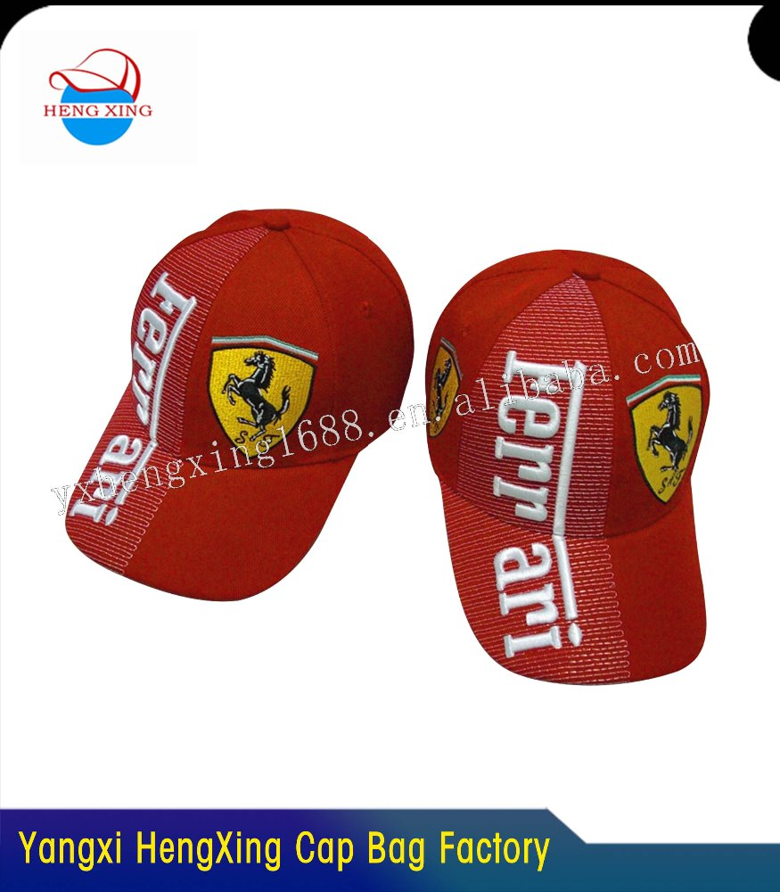 3D Embroidery 6 Panel Embroidery (Ferrari )Baseball Cap