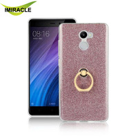 New Glitter TPU With Ring Holder Case Cover For Xiaomi Redmi 4 Mobile Phone