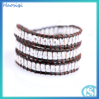 Alibaba Spain New Leather Wrap Bracelet White Crystal Bangles bali bead bracelets