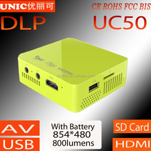 2015 Newest UNIC UC50 Pico DLP led projector 800 lumens pocket projector