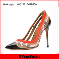 china factory new design pointed toe snake upper for butterfly high heel shoes