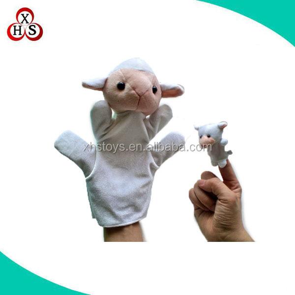 cute design plush&stuffed goat/sheep/lamb hand puppet/finger puppet toy for kids