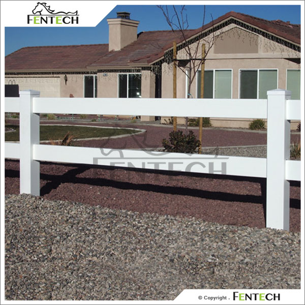 Made in China High Quality Fentech White 2 Rail Plastic Ranch Rail Fencing/ Flat post cap