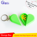 Multi-function Key Chain Plastic Heart Shape Lovely Storage Box With led light