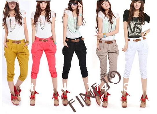 Korea Fashion Women's Casual Harem Pants Slim Cropped Capri Trousers 5 Colors plus size 14203