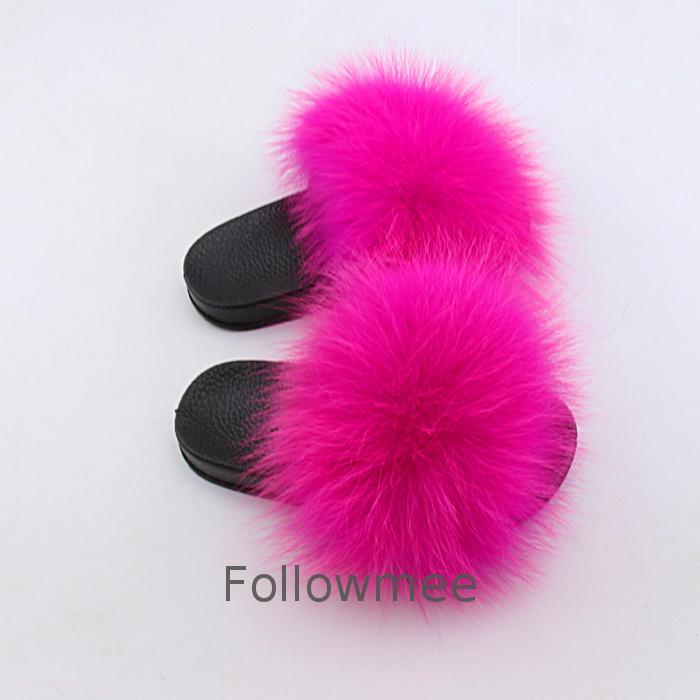 Women Fur Slippers Fashion Real Fox Fur Beach Sandal Shoes Fluffy <strong>Flip</strong> Flops kids wholesale comfortable racoon slippers
