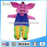 lovely pink pig inflatable fur costume for advertising