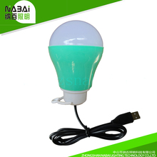 outdoor usage energy saving lighting white bule green red color cover 5w DC5V USB plastic led bulb