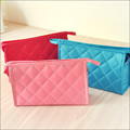 2017 fashion quilted newest travel convenient waterproof clear zipper cosmetic bags