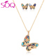 Women Jewelry Sets 18k Gold Plated For Women Fashion colorful Stone Clover Necklace Earrings Jewellery Set
