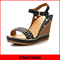 2015 latest design ladies wedge heel rivets sandals sexy women high heel shoes