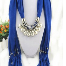 Fashion Women's Elegant Charm Tassels Rhinestone Decorated Jewelry Silver Jeweled Pendant Grey Scarf
