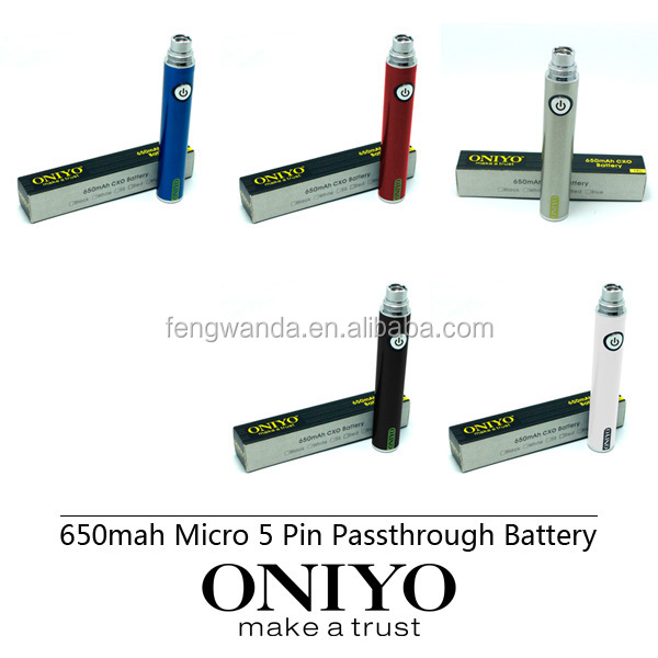 5 micro pin battery Oniyo battery ego usb passthrough