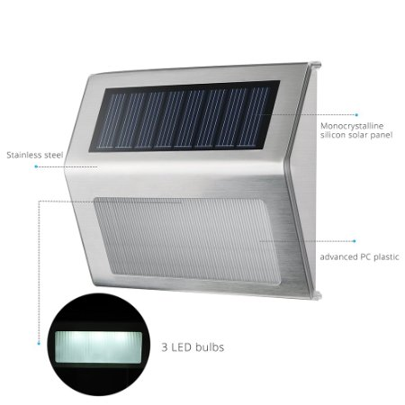 Stainless Stee 3 LED Solar Step Light Outdoor for Stairs, Paths, Deck, Patio, Garden
